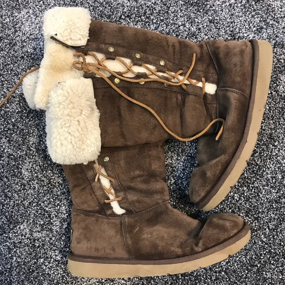 9fc0d2be000 Uggs lace up boots with sheep like fur